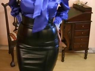 milf wearing strong satin skirt