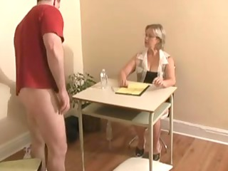 handjob ends with cumshot by big tittied blond
