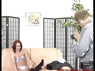redhaired woman from street inside sex studio