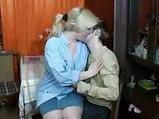 russian milf and guy having a drink