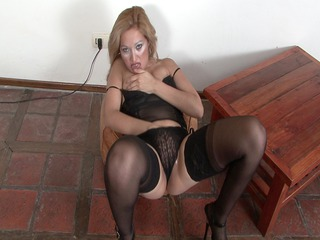 cougar latina strips down and plays  herself
