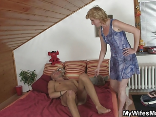 mother into law finds him dildoing and offers her