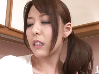 japanese woman spraying while dildoing her