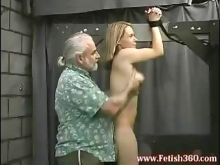 albino lady is tied up and gets her ass spanked