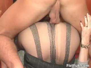 lusty blonde lady inside stockings is pierced