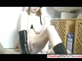 inexperienced bbw housewife gives footjob