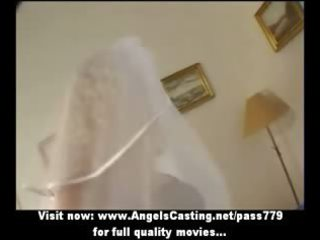 hot pale milf as bride does dick sucking and