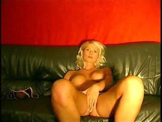 older blond rubbing on leather furniture