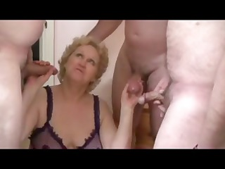 bleached old obtains triple cocks pumping her
