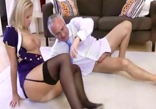 excited nylons amateur blonde