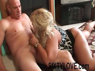heavy blond mature babe blows his rod, gets