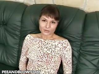 lady worships a hot triple gang bang and drinking