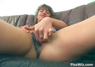 lewd brunette voids urine and fucks her part1