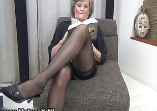 older housewife in hot black stockings