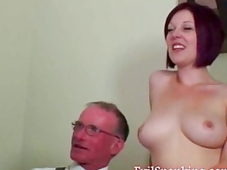 young chick takes hard spanking from a grandpa