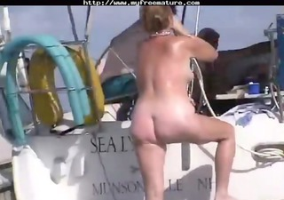 sexy swinger couples have sex in and on a boat