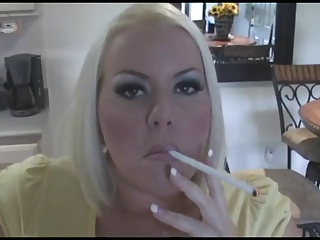 awesome desperate blond woman smoking solo