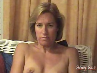 sexy milf with lil boobs pushing dildo inside a