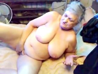 75yr elderly busty granny hand bangs her horny