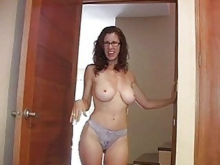 chubby chested redhead momma with glasses exposes