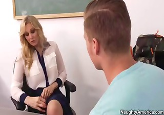 julia ann hints to student to eat her fur pie to