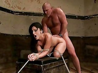 cougar boy ties awesome brunette and dominates