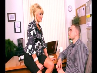 busty blonde cougar fucked into workplace