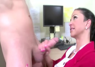 sexually excited cfnm hotties engulfing on cock