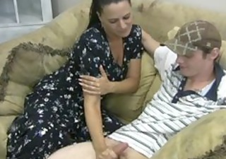 horny mother gives tugjob