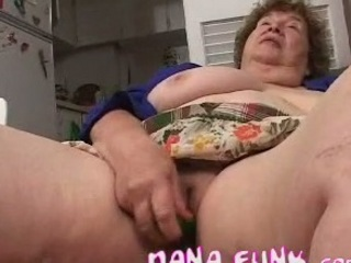 busty gran pleasing her elderly vagina with bottle