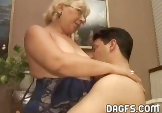 aged granny receives a younger cock to engulf and