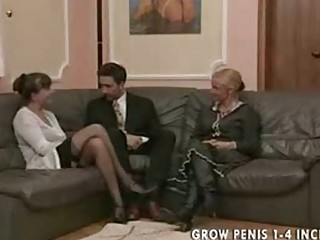 old and mature babe into pantyhose gang bang part1