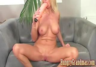 excited blond dildo fucking mamma