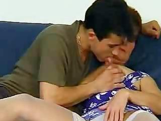 granny into ashen pantyhose excites the man