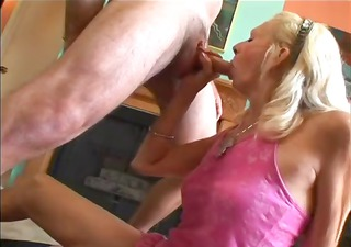 blonde granny with a shaggy bush receives nailed
