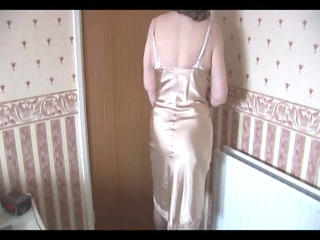 hirsute granny in slither  and nylons with