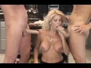 american lady serves 2guys inside the dining room