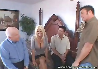 sexy golden-haired wife, with large boobs,