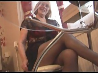 bushy old inside nylons striptease