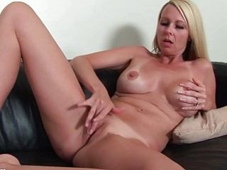 horny grownup angel exposing and pushing dildo