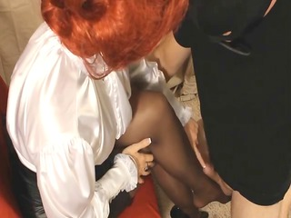 corset heels pantyhose &; satin domina