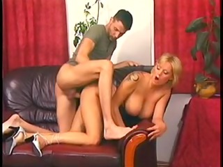 golden-haired mommy with ideal jugs pumped on a